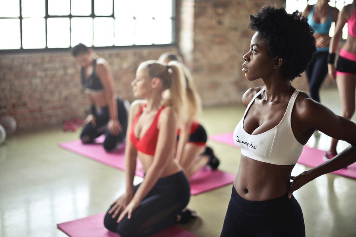 Women in a yoga studio.