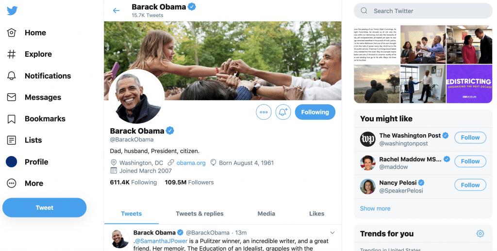 barack obama's twitter profile