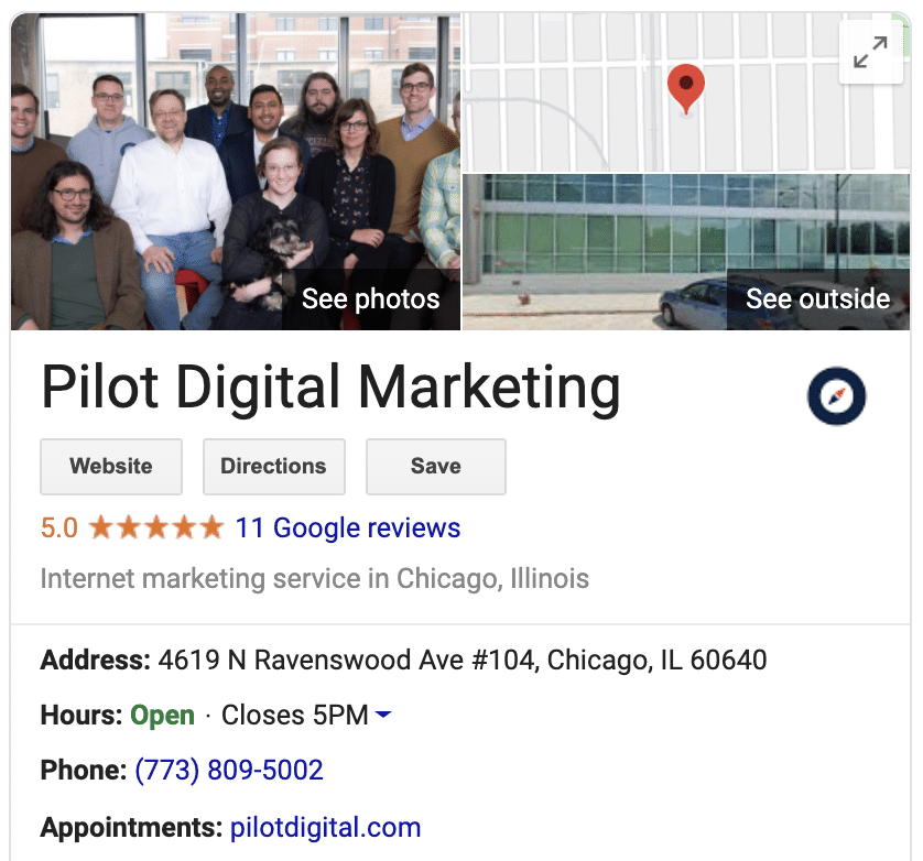 pilot's google my business listing